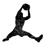 Distressed Basketball Rebound Silhouette