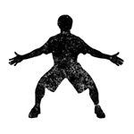 Distressed Basketball Defender Silhouette
