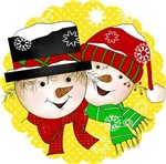 Yellow Dot Snowman Couple