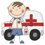 Male EMT With Ambulance