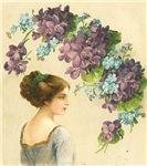 Romantic Edwardian Lady With Purple Flowers