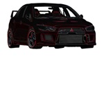 Mitsubishi Evo X - Black with Electric Red Outline