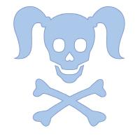 Curly Girlie Skull in baby blue