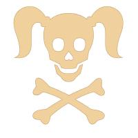 Curly Girlie Skull in beige