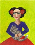 Frida in Red Skirt with Cat
