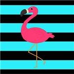Pink Flamingo on Teal Black