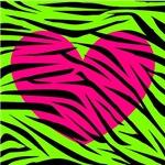 Pink Heart Green Zebra Stripes