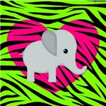 Elephant on Pink and Green
