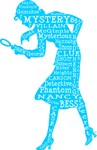 Nancy Drew Word Art Blue Silhouette
