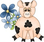 Cute Pink Pig & Blue Flowers