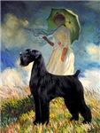 WOMAN WITH UMBRELLA <br>& Giant Schnauzer (black)
