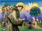 Saint Francis with<br>Two Cairn Terriers