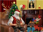 SANTA AT HOME<br>With his Yorkie (#11)