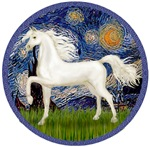 White Arabian Horse<br>In Starry Night