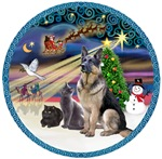 Christmas Magic<br>German Shepherd + 2 Cats