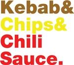 Kebab & Chips & Chili Sauce.