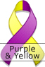 Purple and Yellow Ribbon for Multiple Chemical Sensitivity Awareness