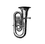 Woodcut Black Tuba
