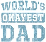 World's Okayest Dad Vintage Blue