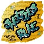 Shetland Sheepdogs Rule! (Green Graffiti Lettering