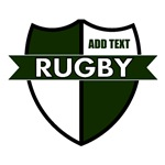 Rugby Shield White Green Personalize