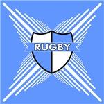 Rugby Crest Light Blue White Stripe