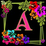 Tropical Flowers on a Monogram Tote