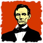 Lincoln Painting with Brick Red Background