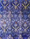 Blue Ornate Pattern and Orange Flowers