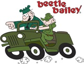 Beetle and Sarge in Jeep