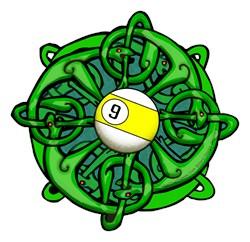 Irish Invader, Celtic Knot 9 Ball Billiard T-shirt