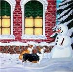 Corgis with Snowman