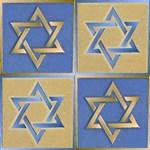 Gold Blue Star of David Art Panels
