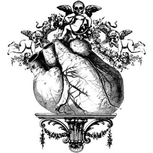 Baroque Heart With Skull Cherub