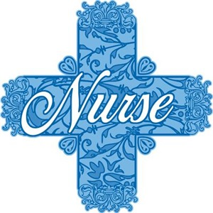 Lacy Blue Nurse Cross