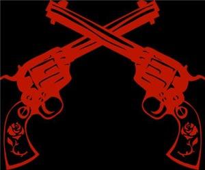 Red Retro Crossed Pistols