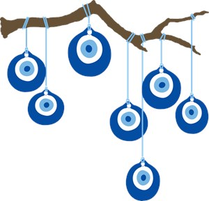 Blue Eye Amulets On Branch
