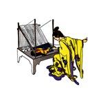 Woman at Weaving Loom