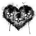 Black Skull Heart Grunge