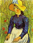 Young Peasant Woman with Straw Hat Sitting in the