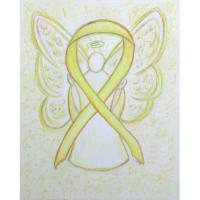 Yellow Awareness Ribbon Angel