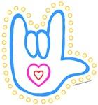 Blue Dotty Love Hand