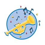 Trumpet and Music Notes Design