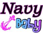 Navy Baby pink anchor