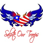 Salute Our Troops Heart Flag