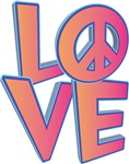 3-D LOVE with Peace Symbol_Glossy Pink-Purple