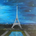 Eiffel Tower surrounded by sparkling stars