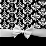 Black and White Bow and Damask