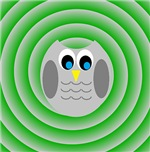 Owl (Green Swirls)
