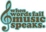 Music Speaks Brown Gifts and Tees